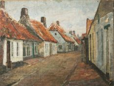 Unbekannter Künstler (wohl um 1900/20), Dorfstraße mit Häusern, Öl auf Leinwand, ca. 48 x