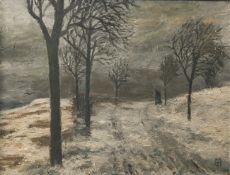 Unbekannter Monogrammist (wohl 20. Jahrhundert), winterliche Landschaft m. Wanderer,