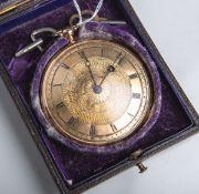 Spindeltaschenuhr aus Gold (wohl Frankreich 18./19. Jahrhundert), goldenes Zifferblatt m.