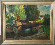 Unbekannter Künstler (wohl 19./20. Jahrhundert), Landschaft, Öl auf Leinwand, ca. 39 x 49