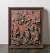 Füllungsfeld eines Möbelstücks (wohl 18./19. Jahrhundert, China), feine Schnitzarbeit mit
