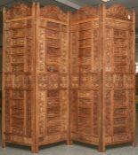 Paravent (Asien, neuzeitlich), Tropenholz, filigran durchbrochen gearbeitet, H. ca. 190cm, B. ca.