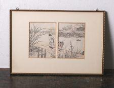 Altkolorierter Holzschnitt (wohl Japan, 18./19. Jahrhundert), 2-teilig, je ca. 17 x 13 cm,PP, hinter