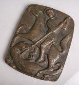 """Bronzeplatte, Darstellung des Hl. Georgs als Drachentöter, re. u. monogrammiert """"WN"""", ca.23,5 x 18,5"""