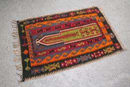 Kelim-Wandteppich (wohl ca. 100 Jahre alt), mit schönen kräftigen Farben, ca. 123 x 82 cm.