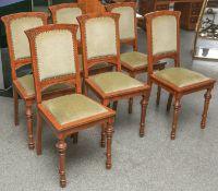 6 Esszimmerstühle im Jugendstildekor (um 1900), m. grünem Samtstoffbezug, H. jeweils ca.100 cm.