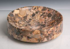 Runde massive Schale (wohl Art Déco, 1920er Jahre), versch. Marmorsorten, tief gemuldet,Dm. ca. 25