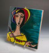 Unbekannter Künstler (wohl 1950/60er Jahre), Kachelbild-Darstellung einer Frau mit buntemHut und