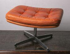 Vintage Ottomane-Fußhocker (wohl 1960/70er Jahre), Eames Era, Unterbau aus Metall,verchromt, Auflage