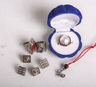 Konvolut Silberschmuck (wohl 1960/70er Jahre), bestehend aus: 1x Damenring mit Perle aus925 Sterling