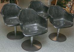 4 Stühle aus einem ehemaligen Friseursalon (1950/60er Jahre), Sitz aus Kunststoff,Mittelsäule,