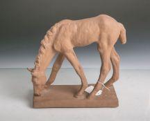 Fohlen aus Keramik (Karlsruher Majolika, Unterbodenwappenmarke/Manufakturmarke, Modellnr.4563,