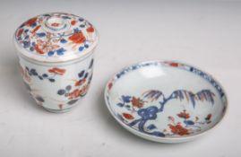 Kl. Deckelgefäß m. Unterteller (China, wohl 19. Jahrhundert), Blumenmalerei m.
