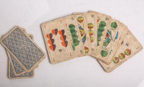 Altes Kartenspiel (wohl 19. Jahrhundert), 31 Karten. Gebrauchsspuren, auf Vollständigkeit