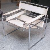 Wassily-Sessel nach einem Entw. von Marcel Breuer, Modell B3, Stahlrohr verchromt,
