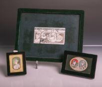 """3 Miniaturgemälde auf Elfenbein (wohl Indisch/Persisch, 19. Jahrhundert), rs. bez. """"Jaipur"""