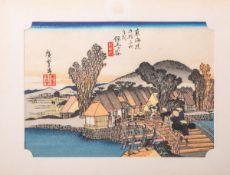 Hiroshige wohl (wohl 18/19. Jahrhundert), Darstellung der Hodogaya Shinmachi-Bashi-Brücke