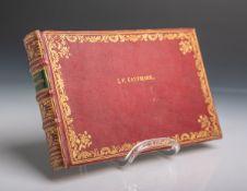 Altes Freundschaftsbuch (wohl 19. Jahrhundert), aus rotem Leder mit feinem Goldprägedekor,