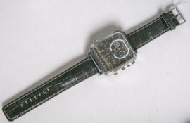 """Herrenarmbanduhr """"V3"""" (Hersteller Hugues Laurent, neuzeitlich), aus Edelstahl, Quarzwerk"""