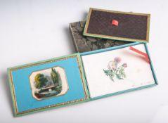 Deckelkästchen aus Karton (wohl 1. Hälfte 19. Jahrhundert), farbig gestaltet und mit