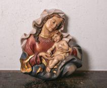 Flachrelief m. Darstellung der Maria m. Jesusknaben (20. Jahrhundert), vollplastisch