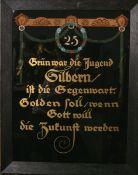Jugendstil-Hinterglasmalerei (Jugendstil/Art Nouveau), aus 24 ct Gold, Jubiläumsbild bez.