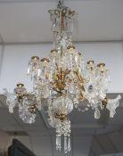 Deckenlampe bzw. Kristalllüster (im Stil des Jugendstils, wohl um 1910/20), Messing