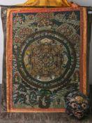 Alter Thangka (Neppal, Alter unbekannt), Rollbild m. einer Maske, Papier/Seide, sehr