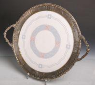 Jugendstil-Keramikplatte (Umkreis Wächtersbach, Hans Christansen), Unterglasurdekor,