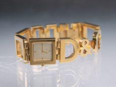 """Dolce u. Gabbana-Damenarmabdnuhr """"Time"""" (neuzeitlich), Quartz, aus Edelstahl (vergoldet),"""