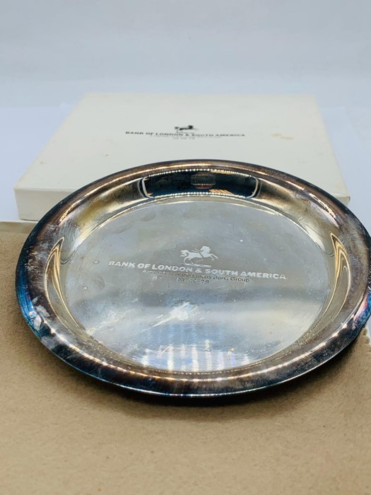 Lot 5 - A Silver Commemorative dish, Bank of London & South America, marked 925.