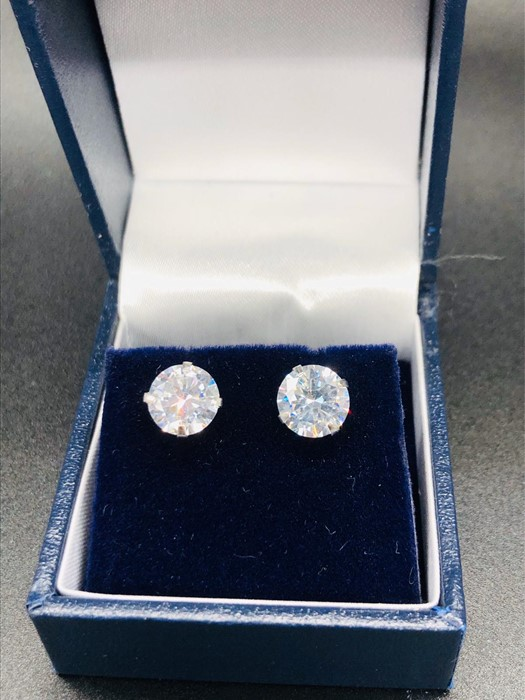 Lot 35 - A Pair of Silver CZ Stud Earrings
