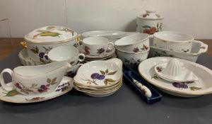 """Royal Worcester porcelain tableware """"Evesham"""" pattern to include serving dishes, fish dish,"""