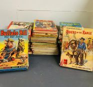 A Large selection of Vintage annuals with a Wild west theme