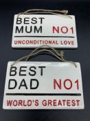 Two ceramic plaques, No1 Best Dad and No1 Best Mum