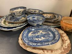 A Large selection of blue and white china to include platters, bowls, meat dishes etc.