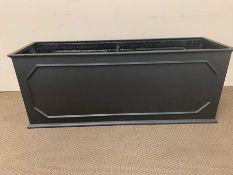 Black faux lead planter (H50cm W130cm D40cm)