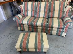 A two seater and three seater sofa with armchair and foot stool