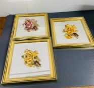 Three square framed mirrors with 3d china roses to center
