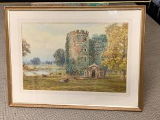 Remains of Esher House occupied by Cardinal Wolsey by H C Warren 1889 watercolour