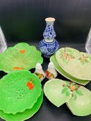 A Selection of Carltonware china in lettuce pattern.