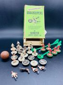 A Boxed collection of Subbuteo players including goalkeepers.