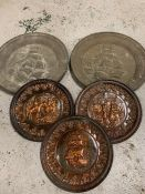Five copper and brass wall hangings
