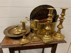 A selection of brass items