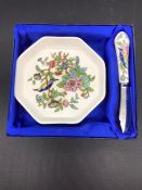 A vintage Pembroke Aynsley butter dish and knife, a hexagonal dish with birds and flower design.