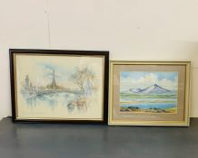 A Picture of the Tour Eiffel and a watercolour of Broadford Bay in Skye