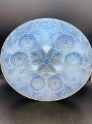 A French glass bowl with floral theme in the style of Lalique (Diameter 31 cm)