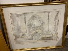 Pencil and water colour of Wimborne Minster Dorset 1877 in a gilt frame