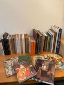 A large collection of art references books to include Rococo Art Design in Hogarth's England,