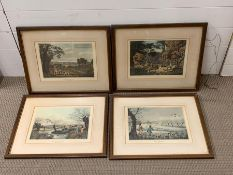 After Robert Havell Junior (1793-1878),A set of four hand coloured engravings on paper with a
